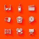 Set of white cinema movie icons.