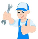 man a locksmith with a wrench