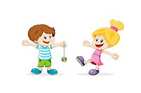 Two happy children cartoon playing