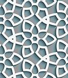 White geometrical floristic net on gray seamless pattern