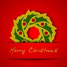 Christmas gold garland applique on red background