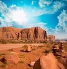 Famous buttes in unique landscape of Monument Valley, Utah, USA.
