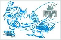 Hunting and fishing vintage emblem