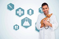 Composite image of happy vet checking dog with stethoscope