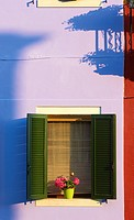 Colourful painted house and shadows, Burano, Venetian Lagoon, Veneto, Italy, Europe.