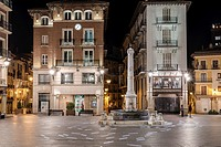 Plaza del Torico by night, Teruel, Aragon, Spain.