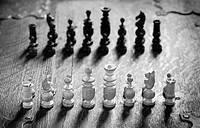 Chess pieces lined up. Conceptual image of strategy and competition.
