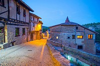Mayor street, night view. Calatañazor, Soria province, Castilla Leon, Spain.