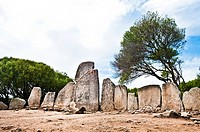 """Italy,Sardegna,Arzachena, prehistoric site,Tomba di giganti Li Longhi,build over remains of an earlier megalithic """"""""gallery-type tomb,Early and Middle..."""