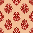 Beige and red seamless damask pattern