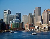 Boston, Massachusetts harbor and skyline.