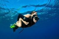 freediver, Aegean Sea, island Symi, Greece.