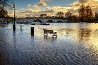 High Tide,River Thames at Richmond Upon Thames,London,UK.