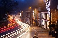 Christmas Lights and Traffic Trails at Knaresborough North Yorkshire England.