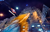 Gran Via street at night. Madrid. Spain.