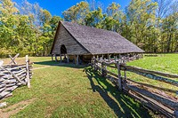 Historic Mountain Farm Museum in Oconaluftee area of Great Smoky Mountains National Park in North Carolina.