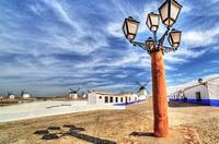 Windmills of Campo de Criptana from albaicin town. La Mancha, Spain