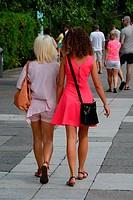Two shopping girls in Swinoujscie; Western Pomerania, Poland.