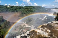 A view from the upper trail, Iguazú Falls National Park, Misiones, Argentina, South America.