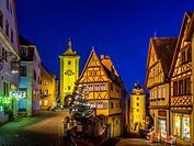 Siebers Tower, Ploenlein and Kobolzell Gate, Rothenburg ob der Tauber, Romantic Road, Franconia, Bavaria, Germany, Europe.