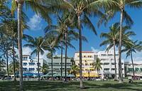 Ocean Drive in the Art Deco district. Miami Beach, Florida. USA.