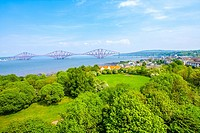 Forth Rail Bridge, a view from the Forth Road Bridge, Queensferry, Scotland, UK.