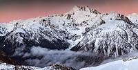 Mt Rolleston, 2275 metres, pre dawn alpenglow, dominant peak Arthur´s Pass National Park, Canterbury, New Zealand.