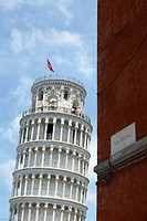 Leaning Tower of Pisa seen from via Roma. Italy.