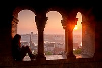Sunrise and panoramic views from Fisherman´s Bastion, Budapest, Hungary.