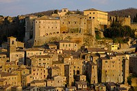 View of Sorano seen from Etruscan rock settlement of San Rocco, Maremma, Grosseto, Tuscany, Italy