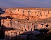 USA, Arizona, Coconino County, Moenkopi Plateau, Evening light defines eroded sandstone formations.