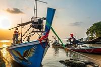 Longtail boats on the beach, sunrise on Bophut Beach, Ko Samui, Thailand, Asia.