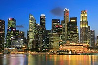 Central Business District at Dusk, Singapore.