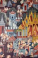 Paintings inside Wat Pho temple, Bangkok, Thailand.