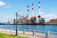 New York City, USA. Powerplant on the East River shoreline, Queens.