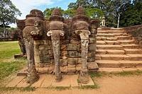 Terrace of the Elephants at Angkor Thom, Cambodia.
