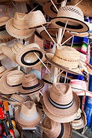 Popular straw hats for sale in a shop at the town center, Tulum, Quintana Roo, Yucatan Province, Mexico, Central America.