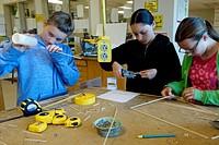6th Grade Girls in Technology Class, Wellsville, New York, USA.