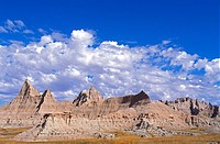 Eroded spires in the badlands near Cedar Pass, Badlands National Park, South Dakota USA.