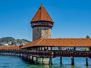 Chapel Bridge and Water Tower in Lucerne, Switzerland, Europe.