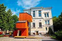Suomen arkkitehtuurimuseo, Museum of Finnish Architecture, with wooden KoKoon building, Helsinki, Finland.