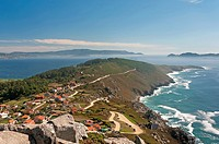 Panoramic view of the Cape Home with fog, Donon, Pontevedra province, Region of Galicia, Spain, Europe.