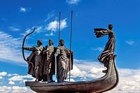 Founders Monument Dniper River Kiev Symbol Kiev Ukraine. Prince Kiy Builder Khoriv SisterLibed Sculptor Boroday 1982.