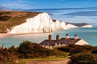 The Seven Sisters and Coastguard Cottages, Seaford, East Sussex, UK.
