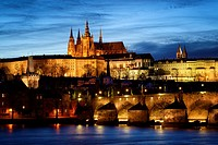 Czech Republic, Prague, historic centre listed as World Heritage by UNESCO, Night view of the Vltava River, the Charles Bridge (Karluv Most), the cast...