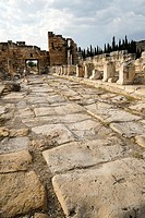 The Roman Road. Hierapolis. Ancient Greece. Asia Minor. Turkey.