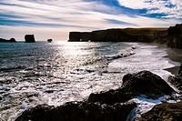 Dyrholaey, small promontory, formerly a volcanic island, Vik i Myrdal, South coast of Iceland.