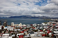 aerial view over the northern end and flaxfloi city of reykjavik Iceland.