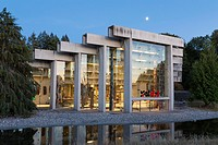 Vancouver, Canada: Moon rising over the Museum of Anthropology at the University of British Columbia. The MOA as it's known, lies on the University En...
