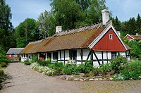 Typical halftimbered house in Scania, South Sweden.
